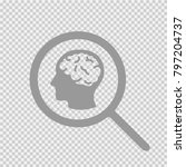 brain head in magnifying glass... | Shutterstock .eps vector #797204737