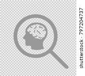 brain head in magnifying glass... | Shutterstock .eps vector #797204737