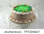 chocolate cake with green... | Shutterstock . vector #797205667