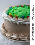 chocolate cake with green... | Shutterstock . vector #797205673