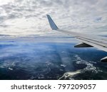 airplane wing flying in the air ... | Shutterstock . vector #797209057