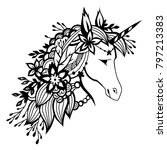 unicorn with flowers in his... | Shutterstock .eps vector #797213383