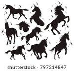 magic unicorn silhouette ... | Shutterstock .eps vector #797214847