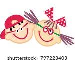 portrait of boy and girl  happy ...   Shutterstock .eps vector #797223403