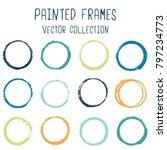 round paint brush stroke vector ... | Shutterstock .eps vector #797234773