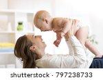 mother and baby boy in diaper... | Shutterstock . vector #797238733