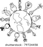 animals around the earth | Shutterstock .eps vector #79724458