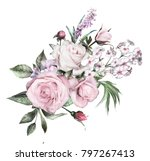 watercolor flowers. floral... | Shutterstock . vector #797267413