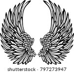 black white wings. angel wings ... | Shutterstock .eps vector #797273947
