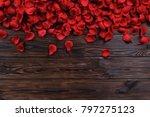 Stock photo romantic happy valentines day greeting card women s day wedding invitation dark wooden textured 797275123