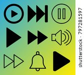 audio media vector icon set... | Shutterstock .eps vector #797281597