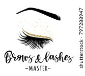 brows and lashes gold logo.... | Shutterstock .eps vector #797288947