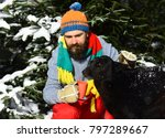 Small photo of Guy with smiling face with firtrees covered with snow on background. Friendship and allegiance concept. Man wears knitted hat, scarf and gloves with black dog. Macho with beard hugs dog and holds cup.