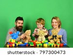 man with beard  woman and boy... | Shutterstock . vector #797300473