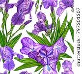 seamless pattern with iris... | Shutterstock . vector #797301307