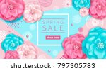 spring sale background with... | Shutterstock . vector #797305783