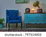 interior shot of blue armchair  ...