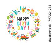 happy birthday. greeting cards. ... | Shutterstock .eps vector #797324293
