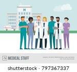 medical staff standing together ...   Shutterstock .eps vector #797367337