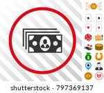banknotes gray icon inside red...