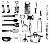 set of hand drawn kitchen... | Shutterstock .eps vector #797384773