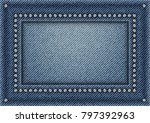 jeans frame with spangles on...   Shutterstock .eps vector #797392963