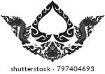 thai art swirl doodle bodhi...   Shutterstock .eps vector #797404693