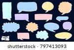 speech bubble doodles set.... | Shutterstock .eps vector #797413093