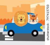 cute lion in a vehicle. cute... | Shutterstock .eps vector #797415703