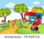 happy children in playground at ... | Shutterstock .eps vector #797429713
