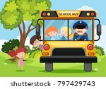 children and bus driver on... | Shutterstock .eps vector #797429743