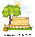 wooden board in garden... | Shutterstock .eps vector #797429857