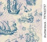 old caravel  vintage sailboat ... | Shutterstock .eps vector #797433757