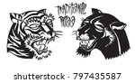 old school panther head and... | Shutterstock .eps vector #797435587