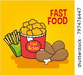 fast food stickers pop art | Shutterstock .eps vector #797476447