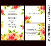 invitation with floral... | Shutterstock . vector #797481277