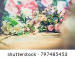 flowers on wooden background  | Shutterstock . vector #797485453