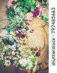 flowers on wooden background... | Shutterstock . vector #797485663