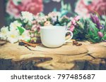 flowers on wooden background... | Shutterstock . vector #797485687