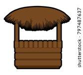 wooden kiosk and palm leaves | Shutterstock .eps vector #797487637
