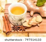 refreshing ginger tea... | Shutterstock . vector #797514133