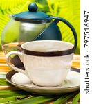 tea on patio meaning refreshes... | Shutterstock . vector #797516947