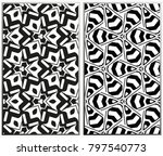 monochrome seamless patterns... | Shutterstock . vector #797540773