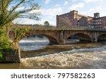 Historic river bridge and mill at Belper, Derbyshire, UK