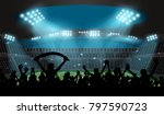 soccer stadium with football... | Shutterstock .eps vector #797590723