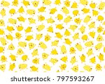 vector cute chickens seamless ... | Shutterstock .eps vector #797593267