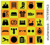 Fitness Icon Set Vector. Music...