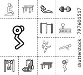 workout icons. set of 13... | Shutterstock .eps vector #797601517