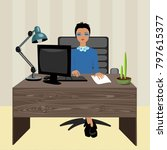 woman boss in the workplace | Shutterstock .eps vector #797615377