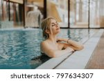 pretty young blonde woman... | Shutterstock . vector #797634307